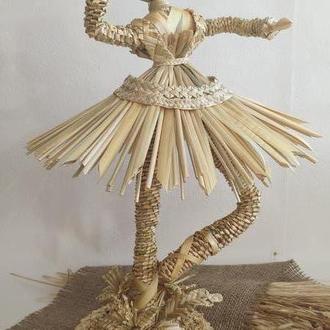 """Интерьерная кукла из соломы """"Балерина"""""""