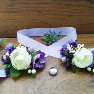 Бутоньерка на руку в цвете Purple Повязка на руку для подружек невесты