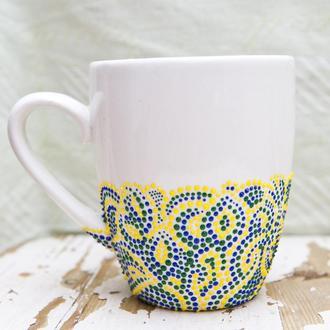 Чашка точечная роспись хенд-мейд