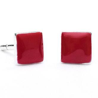 Серебряные серьги с эмалью квадратики Carameli