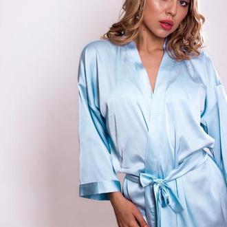 Голубой шелковый халат