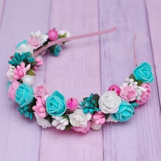 Яркий обруч ободок с цветами для девочки