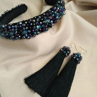 Набор вечерних украшений, ободок из бусин и серьги-кисти чёрного цвета