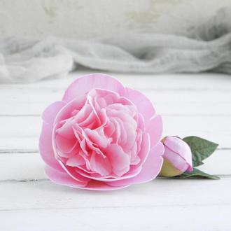 Заколка с розовым пионом для волос, Цветы в прическу