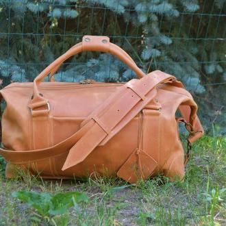 """Дорожная кожаная сумка """"PRAGA"""", Спортивная коричневая сумка"""