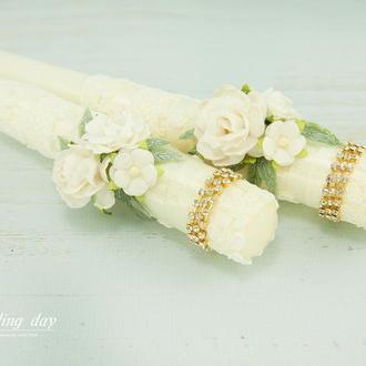 Венчальные свечи / Свічі для весілля / Вінчальні свічки айворі / Шампань / Молочные свечи