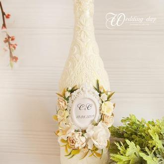 Свадебное шампанское молочное / Оформление шампанского / Весільне шампаське айворі