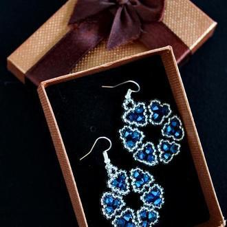 Серьги сине-серебристые цветочные, яркие весенние сережки, подарок девушке, подарок подруге
