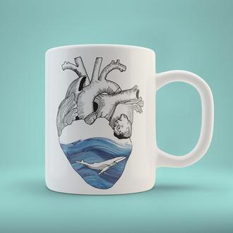 """Чашка с принтом """"Морское сердце"""""""