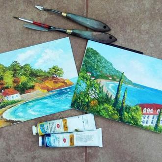 """Картины маслом, миниатюры, """"Летний морской пейзаж """" -2 шт"""