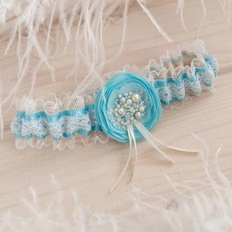 Голубая свадебная подвязка