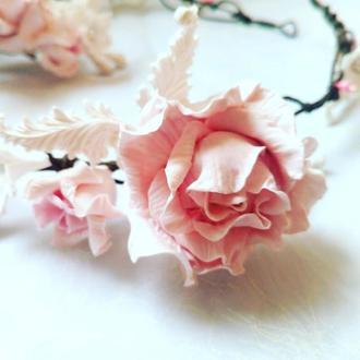 Ободок с цветами Пастила Венок с цветами Свадебный венок