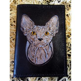 Кожаная обложка Кот, обложка на документы, кожаная обложка со сфинксом
