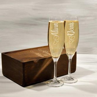Свадебные бокалы для шампанского с персонализированной гравировкой, подарок для пары