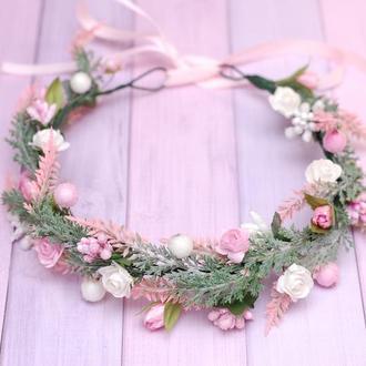 Веночек бело-розовый с веточками лаванды