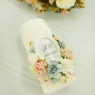 Венчальные свечи персиковые / Сімейне вогнище для весілля / Голубые свечи / Семейный очаг айвори