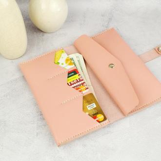 Шкіряний жіночий гаманець - Рожевий гаманець