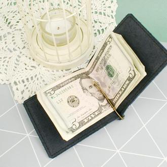 Кожаный мужской зажим - зажим для денег