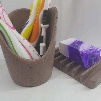 Набор для ванной – мыльница и стакан из бетона
