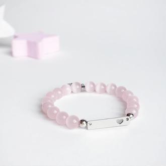Розовый браслет из кошачьего глаза (модель № 346) JK jewelry