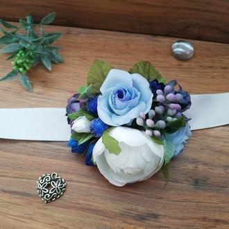 Бутоньерка на руку в сине-голубом цвете Повязка на руку для подружек невесты