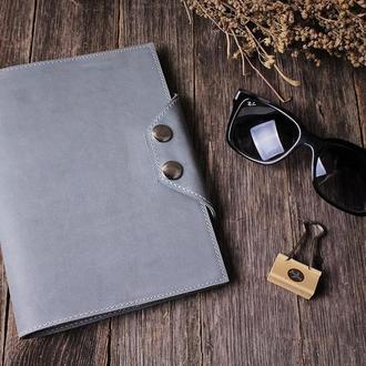 Стильный серый блокнот из натуральной кожи