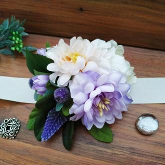 Бутоньерка на руку в кремово-лавандовом цвете Цветочный браслет для свидетельницы, на выпускной
