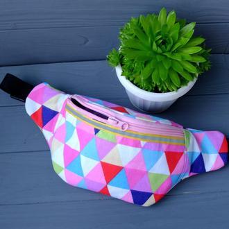Сумка-бананка с треугольниками, поясная сумка 25//Сумка-бананка з трикутниками, поясна сумка 25