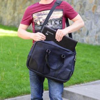 Синяя сумка для ноутбука, Мужская кожаная сумка на плечо