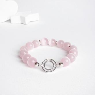 Розовый браслет из бусин кошачьего глаза  (модель № 347) JK jewelry