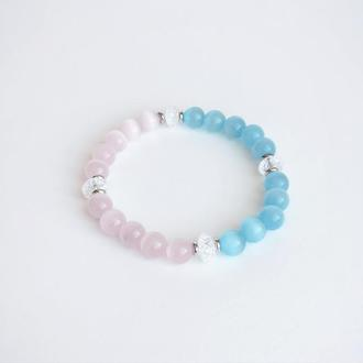 Розово-голубой браслет из натурального камня (модель №348) JK jewelry