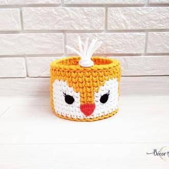 Вязаная корзинка Утенок, декор детской, корзинка для хранения мелких игрушек, аксессуаров для волос