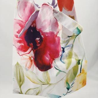 Тканевая сумка, экосумка. Сумка для покупок, шоппер, авоська, торба. Сумка с цветами. Белая сумка.