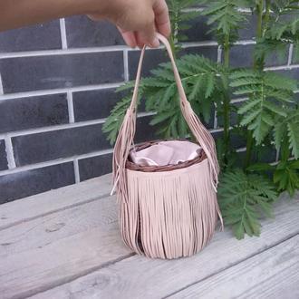 Плетеная сумочка с тканевым чехлом на кулиске диаметр 13см