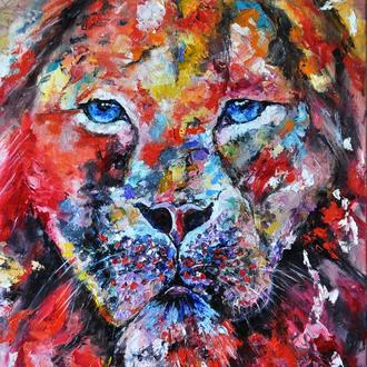 "Картина маслом ""Лев"",  живопись мастихином, 70х50 см"