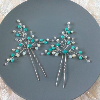 Бирюзовые шпильки для волос невесты (2 шт)