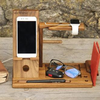Органайзер Из Дерева С Гравировкой Логотипом Для Телефона Часов iWatch Apple Galaxy Ключей Паспорта