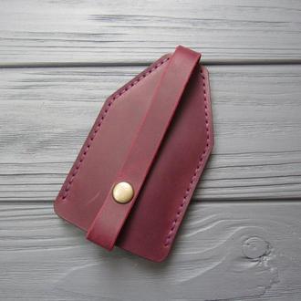 Шкіряна ключниця, чохол для ключів з натуральної шкіри марсала