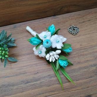 Бутоньерка для жениха в стиле Tiffany Бутоньерка для свидетеля Свадебные бутоньерки в стиле Тиффани