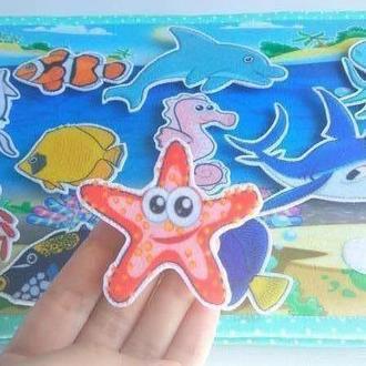 Развивающая книжка | развивающая игрушка | мягкая книга | рыбалка | морские обитатели | мелкая мотор