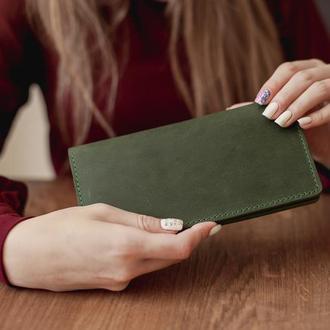 Большой вместительный кожаный кошелек-клатч ручной работы_подарок жене