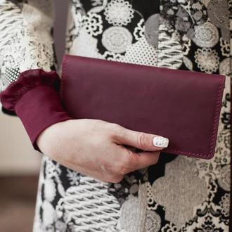 Женский кожаный кошелек-клатч Vilena, большой женский кошелек из натуральной кожи