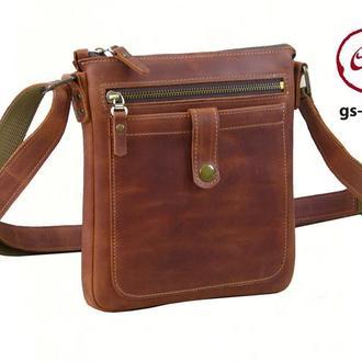 Мужская сумка -планшет из натуральной винтажной кожи CRAZY HORSE