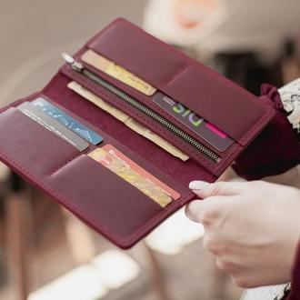 Женский вместительный кошелек  из натуральной кожи_марсала, кожаный кошелек-клатч