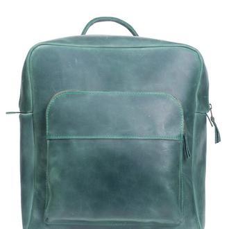 Кожаный рюкзак на молнии. 01006/зеленый