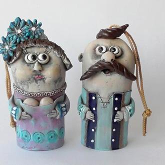 Колокольчики Украинец и Украинка Этно сувенир Handmade Ukrainian