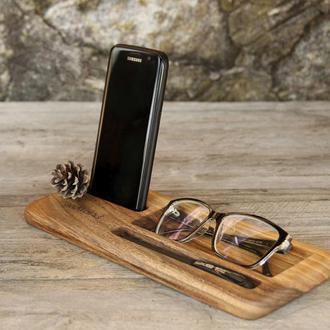 Деревянный Бизнес Органайзер Аксессуар Для Телефона iPhone Ручек Из Дерева Офисный Держатель На Стол