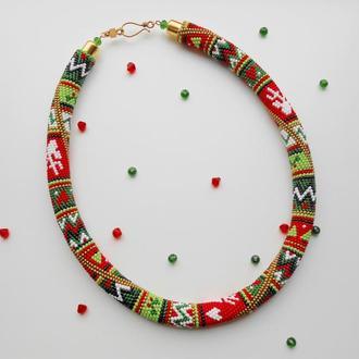 """Ожерелье из бисера """"Рождественское"""". Жгут из бисера."""