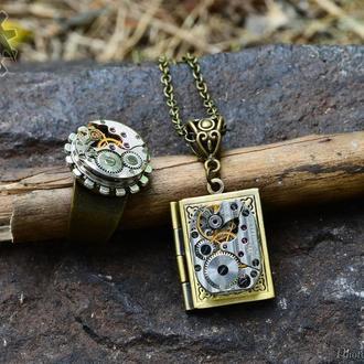 Набор кольцо и фото медальон в стиле стимпанк (в наличии)