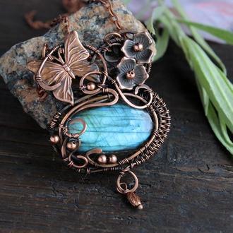 Кулон с лабрадоритом Бохо украшения Wire wrap украшения Кулон на шею   Кулон в подарок